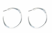 Baked Beads Silver Plated Post Hoop Earrings