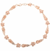 Plumeria and Flip Flop Link Rose Gold Anklet