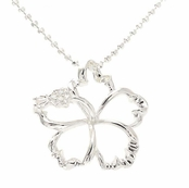 Sterling Silver Floating Hibiscus Flower Necklace
