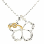 Yellow Gold Two Tone Sterling Silver Floating Hibiscus Flower Necklace