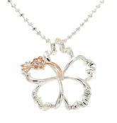 Rose Gold Two Tone Sterling Silver Floating Hibiscus Flower Necklace