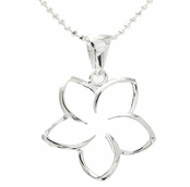 Sterling Silver Floating Plumeria Flower Necklace