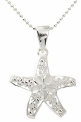 Sterling Silver Plumeria Filled Open Stafish Pendant Necklace