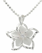 Sterling Silver Framed Plumeria Flower Necklace