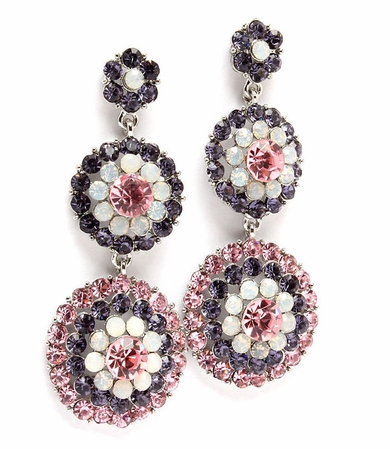 Rose and Tanzanite Crystal Triple Flower Drop Earrings