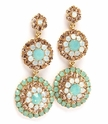 Opal Multi and Topaz Crystal Triple Flower Drop Earrings