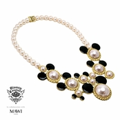 Disney Couture Minnie Mawi Gold Plated Ivory Pearl Bib Necklace