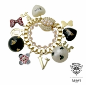 Disney Couture Minnie Mawi Pearl and Heavy Box Chain Multi Charms Bracelet