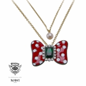 Disney Couture Minnie Mawi Red Minnie With Emerald Crystal Bow Layered Neckalce