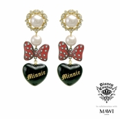 Disney Couture Minnie Mawi Minnie Pearl Heart and Bow Drop Earrings