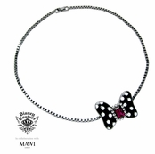 Disney Couture Minnie Mawi Black Minnie With Fuchsia Crystal Bow Pendant Neckalce