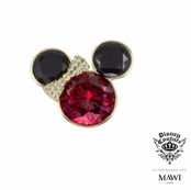 Disney Couture Minnie Mawi Gold Plated Fuchsia and Jet Crystal Minnie Head Ring