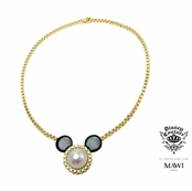 Disney Couture Minnie Mawi Gold Plated Ivory Pearl Mickey Head Pendant Necklace
