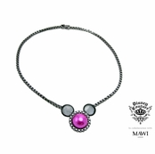 Disney Couture Minnie Mawi Hematite Plated Fuchsia Pearl Mickey Head Pendant Necklace
