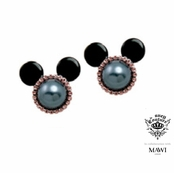 Disney Couture Minnie Mawi Rose Gold Plated Black Pearl Mickey Head Earrings