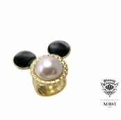 Disney Couture Minnie Mawi Gold Plated Ivory Pearl Mickey Head Ring