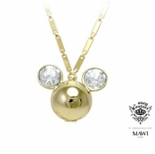 Disney Couture Minnie Mawi Gold Plated Large Crystal Mickey Head Locket Necklace