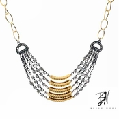 Belle Noel Mixed Metal Multi Layer Pave Necklace