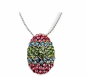 Pastel Multi Swarovski Crystal & Enamel Easter Egg Necklace