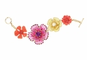 Spring Street Pink Multi Flower Toggle Bracelet
