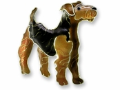 Airedale Terrier Sterling Silver Enameled Pin