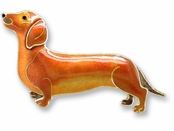 Dachshund Sterling Silver Enameled Pin