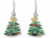 Crystal Tree Sterling Silver Enameled Earrings