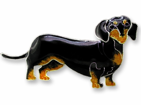 Black and Tan Dachshund Sterling Silver Enameled Pin