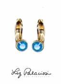 Swarovski Crystal Caribbean Blue Opal Bezel Round Leverback Earrings by Liz Palacios