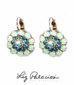 Swarovski Crystal Chrysolite Opal Multi Layered Flower Leverback Earrings by Liz Palacios