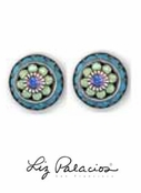 Swarovski Crystal Turquoise Multi Crystal Framed Flower Post Earrings by Liz Palacios