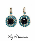 Swarovski Crystal Jet and Caribbean Blue Opal Leverback Earrings by Liz Palacios