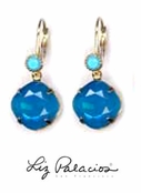 Swarovski Crystal Caribbean Blue Opal and Turquoise Leverback Earrings by Liz Palacios