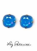 Swarovski Crystal Large Cushion Caribbean Blue Opal Solitaire Earrings by Liz Palacios
