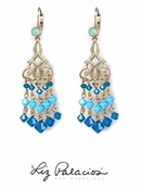 Swarovski Crystal Caribbean Blue Opal Turquoise Chandelier Earrings by Liz Palacios