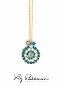 Swarovski Crystal Caribbean Blue Opal Multi Flower and Drops Pendant Necklace by Liz Palacios