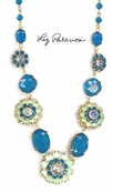 Swarovski Crystal Caribbean Blue Opal Multi Flower and Stones Statement Necklace by Liz Palacios