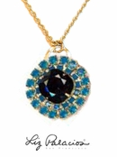 Swarovski Crystal Jet and Caribbean Blue Opal Pendant Necklace by Liz Palacios