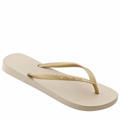 Beige and Gold Classic Tan Flip Flops by iPANEMA