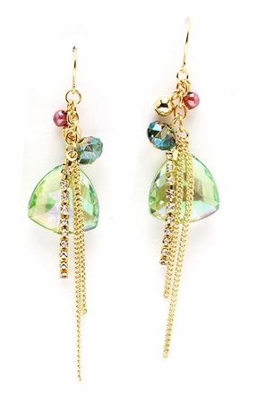 Faceted Peridot AB Briolette Multi Bead and Chain Drop Earrings
