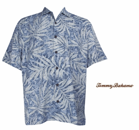 French Blue Palm City Silk Camp Shirt by Tommy Bahama