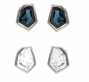 Janna Conner Rhodium Plate Christa Swarovski Crystal Stud Earrings
