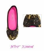 Vicky Loves Velvet Camel Leopard Ballet Slippers by Betsey Johnson