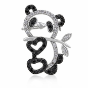 Jet and Clear CZ Panda Heart Pin