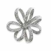Ribbon Flower CZ Pin
