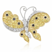 Pave Two Tone CZ Butterfly Pin