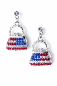Crystal Patriotic Handbag Drop Earrings