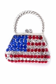 Crystal Patriotic Handbag Pin