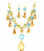 Topaz Multi Drops Necklace and Earrings Set