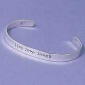Live Love Laugh Sterling Silver Cuff Bracelet by Far Fetched